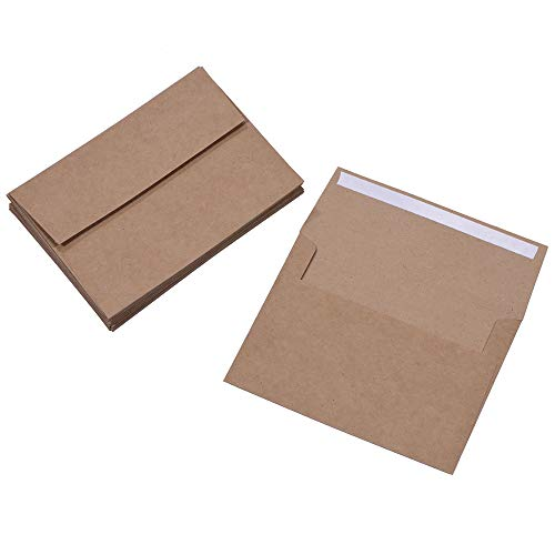 A7 Brown Kraft Paper Invitation 5 x 7 Envelopes - 50 Pack,Self Seal,for 5x7 Cards| Perfect for Weddings, Invitations, Baby Shower| Stationery for General, Office | 5.25 x 7.25 Inches Photo #2