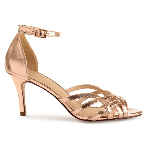 Brinley Co. Womens Merika Faux Leather Ankle Strap Metallic Heels Rose Gold, 7.5 Regular US