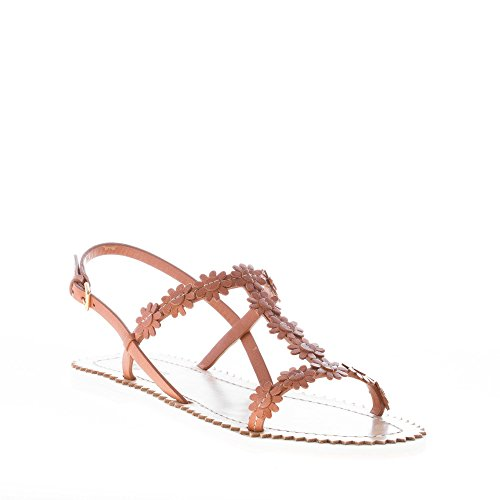 Basso Con Donna Shoe Fiori Suola Applicati Pelle Sandalo Gomma In Marrone Naturale Car tZ46q0xx