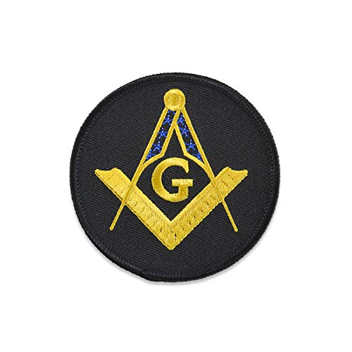 "Square & Compass Black & Gold Embroidered Masonic Patch - 3"" Diameter"