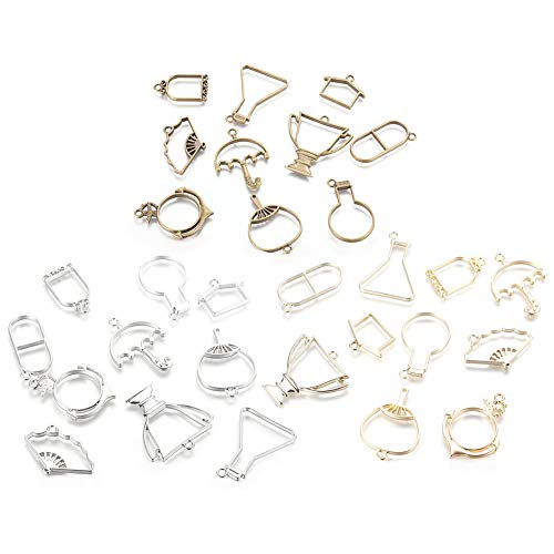 Frame Pendants,30Pcs Bezel Charms Pendants Hollow Resin Molds Pendants Assorted Geometric Hollow Pressed Flower Frame DIY Crafts for Jewelry Making Crafts Resin Earrings Necklace Bracelet Making