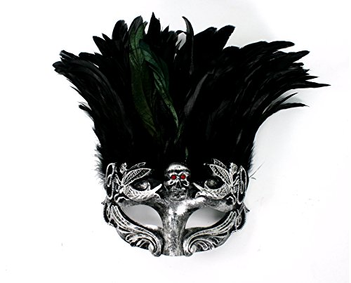 [Men's Warrior Skull Masquerade Mask with Feathers (Silver)] (Greek Headdress Costume)