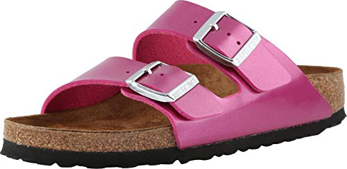 Birkenstock Women's Arizona Birko-Flor Limited Edition Narrow Fit Sandals, Electric Metallic Magenta, 39