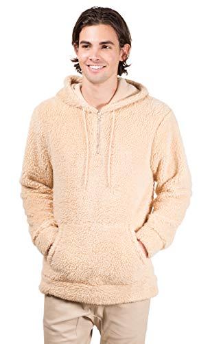 Brooklyn Surf Men's Quarter Zip Sherpa Hoodie Sweatshirt Sweater, Biscuit, ()