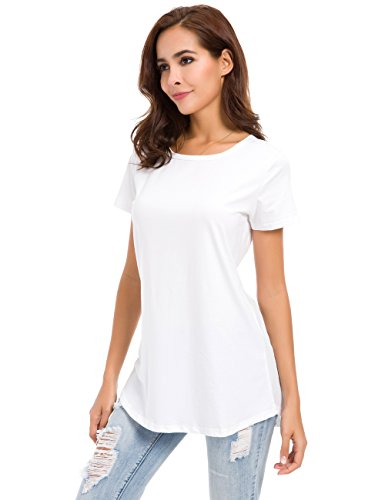 - Womens Loose Fitting Side Slit Tops Tunic Short Sleeve Causal T Shirts