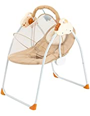 Baby Swing Baby Cradle 3 Speed Safe Soothing Baby Swings for Infants Front to Back Gliding Motion Baby Bouncer Chair with Music Removable Washable Mattress Seat Belt Remote Control (Khaki)