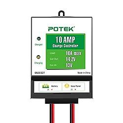 POTEK 10-Amp/130-Watt 12-Volt Solar Charge Controller Battery Regulator for Solar Panel