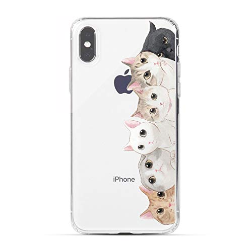 iPhone X Case, HUIYCUU Cute Animal Design Slim Fit Soft TPU Silicone Cover with Funny Pattern Thin Clear Protective Skin Gift Unique Novelty Bumper Back Case for iPhone X / 10,Orange White Black Cat]()