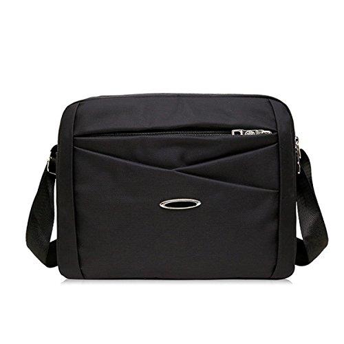 Hombres Messenger Ipad Hombro Totalizador Lateral Ocio Bolsa Negro Tela De Nylon,Black-28cm*7cm*21cm