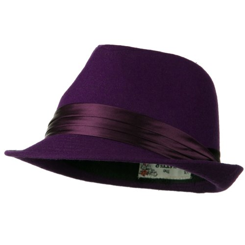 Fedora with Pleated Satin Band - Purple OSFM Purple Satin Hat