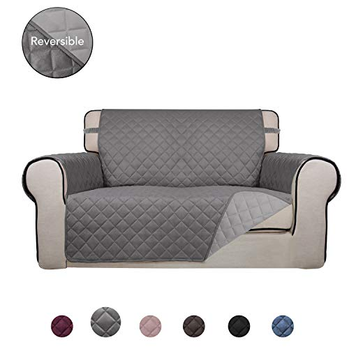 PureFit Reversible Quilted Sofa Cover, Water Resistant Slipcover Furniture Protector, Washable Couch Cover with Non Slip Foam and Elastic Straps for Kids, Dogs, Pets (Loveseat, Gray/LightGray)
