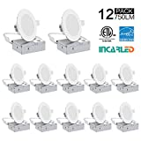 INCARLED 4inch 9W Dimmable LED Recessed Slim Downlight with Junction Box (12pack) (Neutral White/4000K)