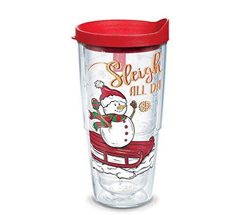 Tervis Simply Southern Sleigh All Day Snowman Wrap with Red Lid, 24oz, Clear