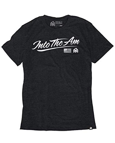 - INTO THE AM Script Graphic Men's Casual Tee Shirt (Charcoal, Medium)