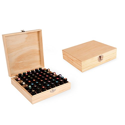 Wooden Essential Oil Box - Holds 52 (5-15 ml) & 6 (10ml Roll-On) Essential Oil Bottles - Perfect Essential Oils Case for Presentations - Protects Your Oils From Damaging Sunlight ()
