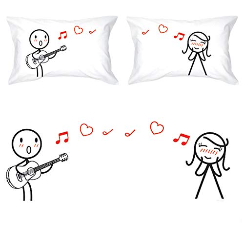 BoldLoft Love Me Tender Couples Pillowcases for Him and Her|Cute Girlfriend Gifts for Christmas,Birthday,Anniversary,Valentines Day|His and Hers Gifts for Couples|Romantic Gifts for Her
