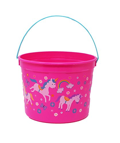 Unicorn and Rainbow Colorful Bright Pink Easter Bucket Baske