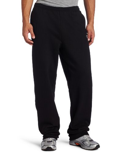 (Champion Men's Open Bottom Eco Fleece Sweatpant, Black, Medium)