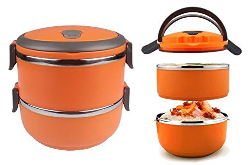 bento lunch box lunch containers 2 tier tiffin round import it all. Black Bedroom Furniture Sets. Home Design Ideas