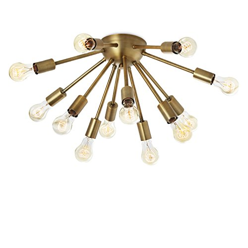Starburst Light Fixture - 12-Light Sputnik Chandelier Brass - Flush Mount Ceiling Light, Modern Fixture by Brooklyn Bulb Co, ETL Listed