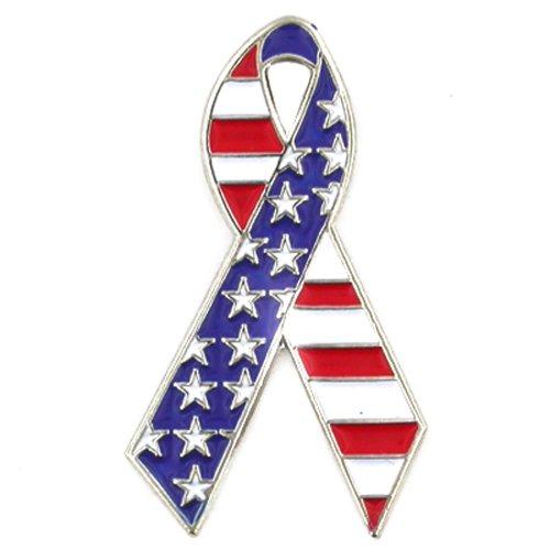 PinMart American Flag Stars and Stripes Awareness Ribbon Enamel Lapel Pin