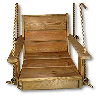 Cypress Wood Chair Tree Swing- Porch- Patio 12 feet Rope Each Side