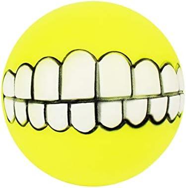 球形のペットのおもちゃ超厚いシリコーンのボーカル歯のボール犬のおもちゃ犬のトレーニング一口犬のボーカルのおもちゃペット用品黄色