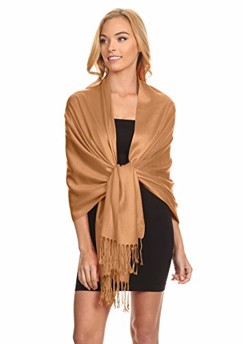 Simlu Womens Scarfs Silky Pashmina Shawl Wrap Scarves for Women Stole Shawls Bronze One (Scarf Bronze)