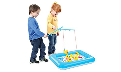 Catch A Duck Game With Inflatable Mini Pool by Animal House | Fun Carnival & Birthday Party Duck Pond Fishing Game (Catch A Duck) (Plastic Duck)
