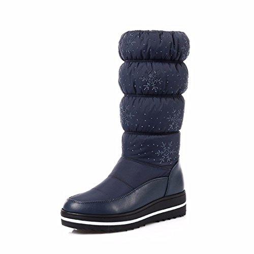 Botas de nieve de invierno Señoras Camisa botas zapatos tamaño engrosamiento blue