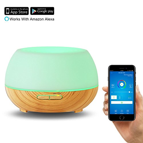Aroma Diffuser & Humidifier Alexa Wifi 300ml MOURVE Essential Oil Air Purifier Diffuser Cool Mist Ultrasonic Humidifier Works with Alexa and App Remote Control 8 Hours Mist Mode with 7 Lights