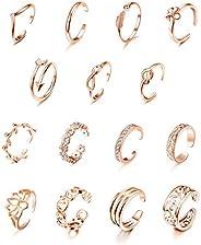 LOYALLOOK 15Pcs Adjustable Toe Rings for Women Various Types Band Open Toe Ring Set Gold Silver Tone Hawaiian