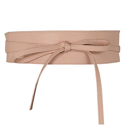 (Ayliss Women Soft Leather Obi Belt Self Tie Wrap Cinch Belt,Nude Pink)