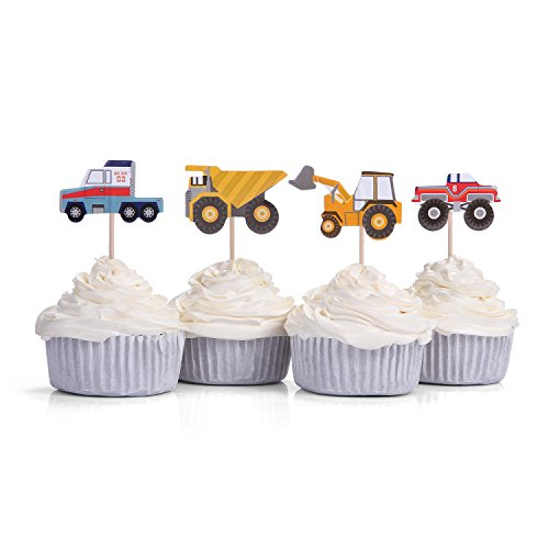 Set Of 24 4 Patterns Tractor Dumpers Car Cupcake Toppers Kids Party Picks By Giuffi