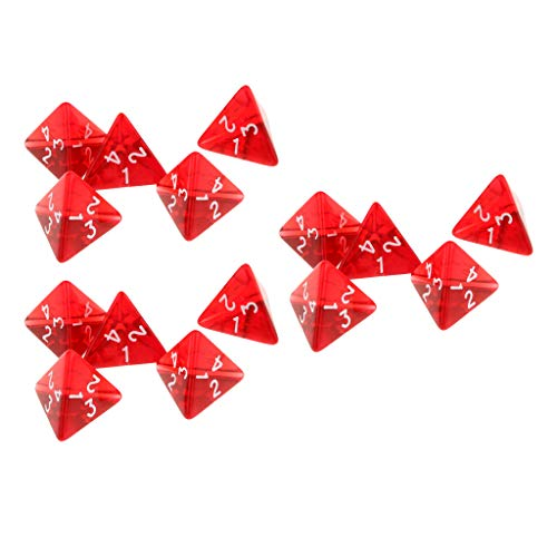 (Flameer 15Pc Red Dice Set D4 Four-Sided Gem Dice 2cm 4-Die RPG Dice Dice Player Accs)