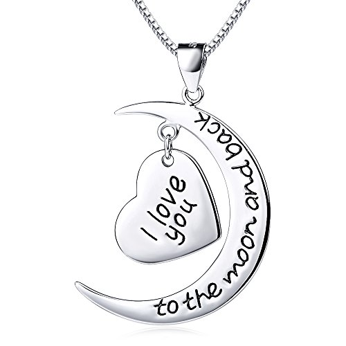 """YFN Sterling Silver """"I Love You to the Moon and Back"""" Heart Charm Pendant Necklace 18"""""""