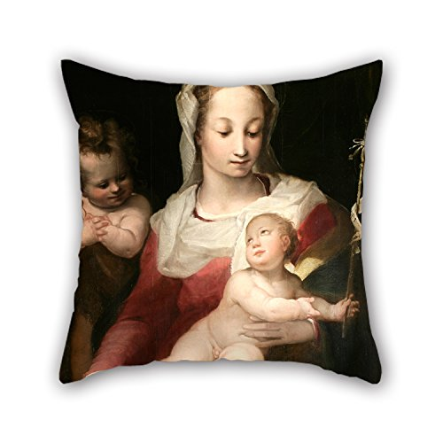 Bestseason 20 X 20 Inches   50 By 50 Cm Oil Painting Alessandro Casolani   Madonna With Child And Young Saint John Pillowcase  Two Sides Ornament And Gift To Kitchen Monther Family Pub Dance Room Hu