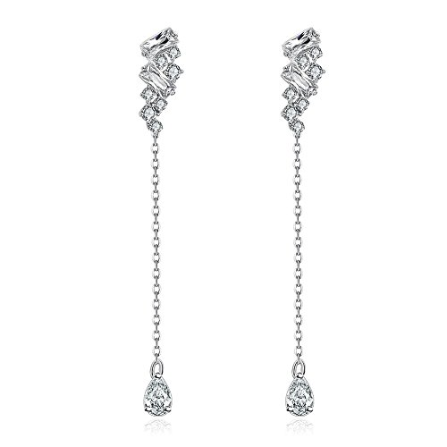 [iCAREu Platinum Plated Teardrop Shape Personalized Post Earrings with Zircons (Platinum)] (Homemade Stingray Costume)