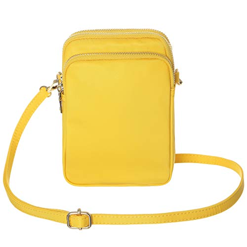 HAIDEXI Lightweight Nylon Small Purses or leather Small Crossbody bag Cell Phone Purses Wallet for Women (A-Lemon yellow)