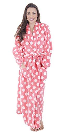 Simplicity Women's Fleece Plush Wrap Kimono Robe Bathrobe with Pockets,dot