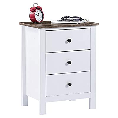 ChooChoo Nightstand with Drawers, Wooden Bedside Table End Table Bedroom, White