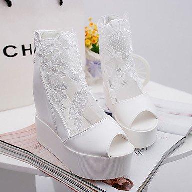 LvYuan Mujer-Plataforma-Confort-Sandalias-Vestido Informal-PU-Negro Blanco Plata Silver