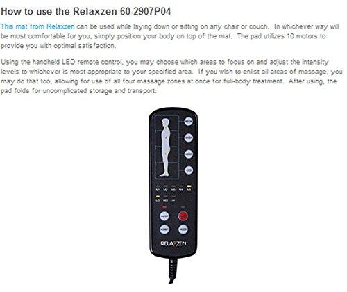 046854177055 - Relaxzen 60-2907P04 10-Motor Massage Standard Mat with Heat, Charcoal Gray carousel main 6