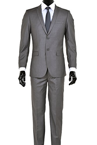 King Formal Wear Men's Premium European Fit Suit Slim Fit Two Button Two Piece Suits - Many Colors (Gray, 36 Short)… by King Formal Wear