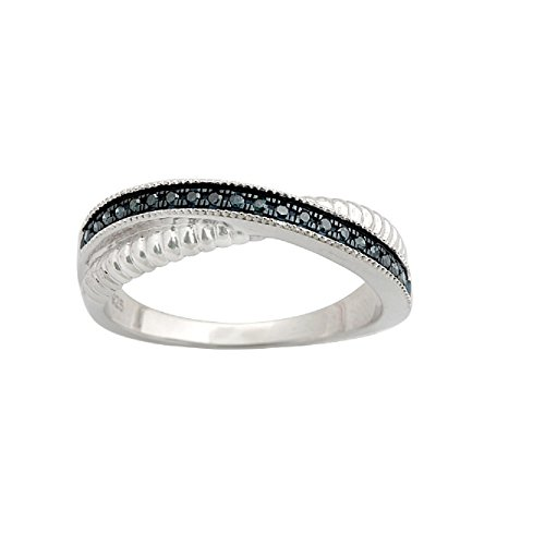 Fabulous Round Brilliant Cut Blue Diamond Twisted Half Eternity Ring,, 10k White Gold, Size 7 by Prism Jewel
