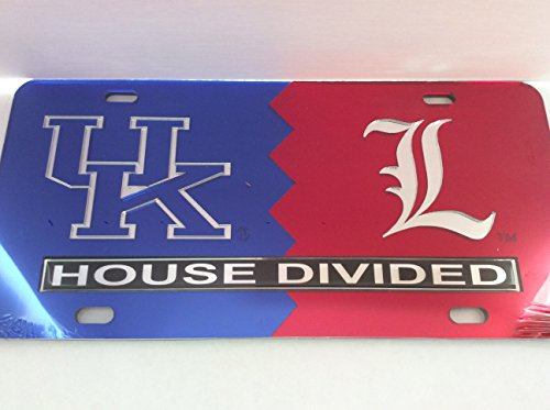 (Kentucky Wildcats / Louisville Cardinals House Divided Laser Cut License Plate Tag)