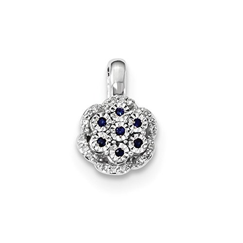 14k White Gold Diamond Sapphire Pendant Charm Necklace Gemstone Fine Jewelry Gifts For Women For Her