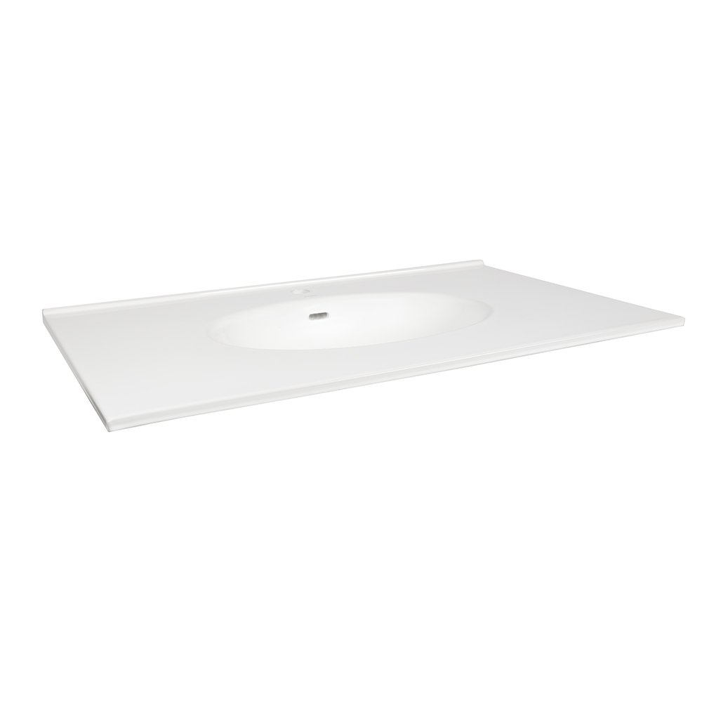 Ronbow Essentials 37'' X 22'' Ceramic Lav Top W/Integrated Sink (Single Faucet Hole) - White 211137-1-WH