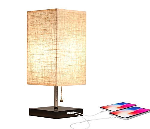 Moooni USB Table Lamp USB Side Desk Lamp Modern Design Bedside Table Lamp with USB Port Minimalist Pull Chain Nightstand Table Lamp Fabric Lampshade for Bedroom Living Room Study Room Drom Linen
