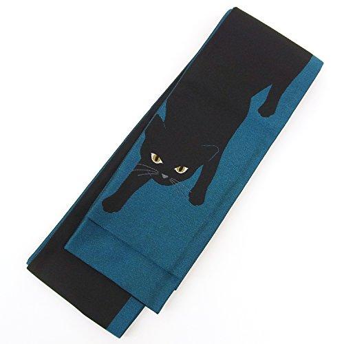 恐れ一般化するサージ半幅帯 浴衣帯【撫松庵】ボーダー 猫 日本製 ターコイズブルー ローズ ぶしょうあん ねこ お洒落 女性用